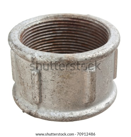 Pipe coupling isolated on a white  background - stock photo