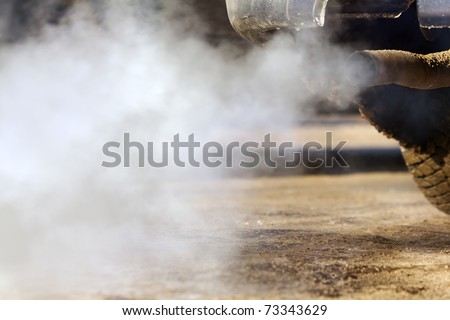 Pipe  exhaust   car   smoke  emission - stock photo