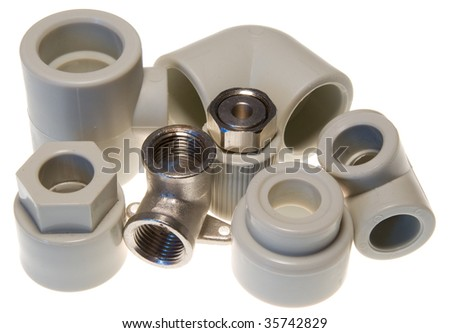 Pipe fittings for water isolated on white
