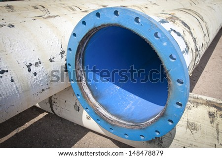 pipe flanges from water city supply - stock photo
