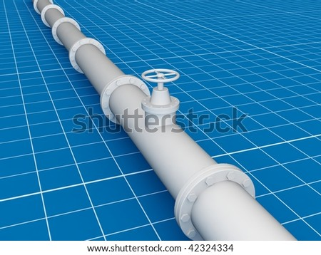 Pipe line ( blue print in 3d ) - stock photo