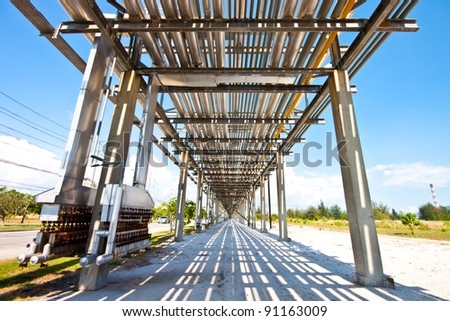 pipe line in petrochemical plant - stock photo