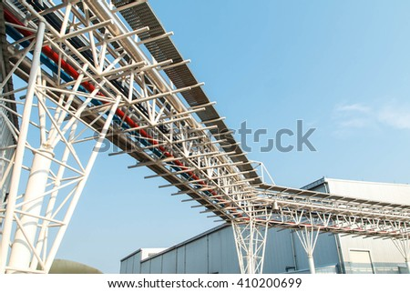 Pipe line in the industrial plant - stock photo