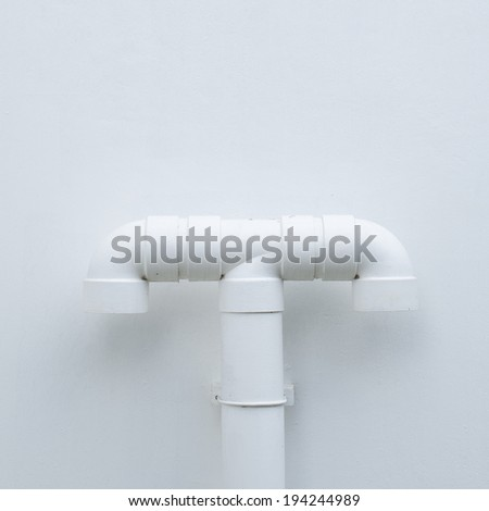 Pipe line on white background wall.
