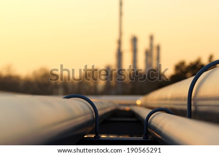 pipe line transportation in crude oil refinery - stock photo