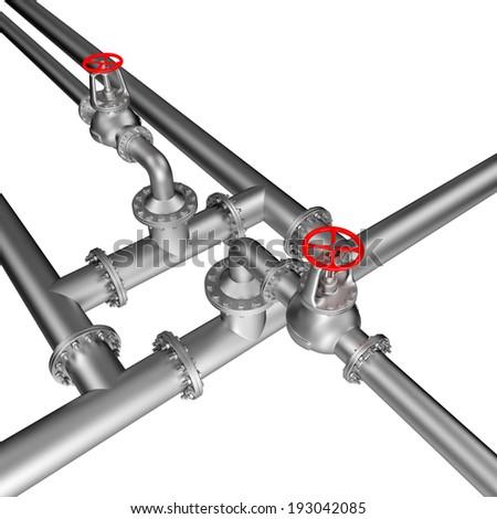 pipe line valves - stock photo