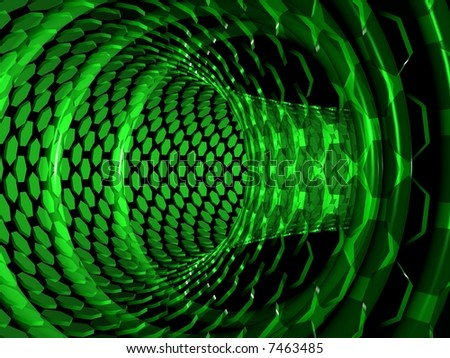 Pipe of polygons in black space. Green abstract background. - stock photo