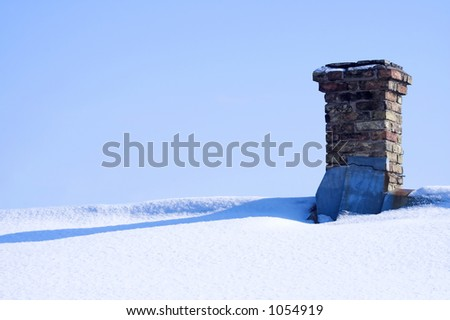 Pipe on snowy roof - stock photo
