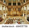 Pipe organ in the Wanamaker's department store (the largest in the world), Philadelphia, Pennsylvania. - stock photo
