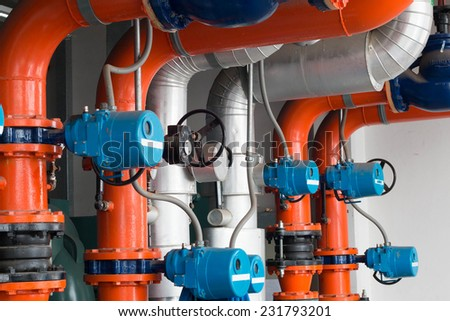 Pipe Refrigeration compressors.  - stock photo