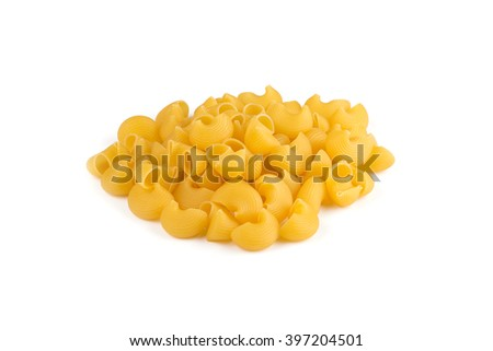 Pipe rigate pasta heap. Yellow. Isolated on white background