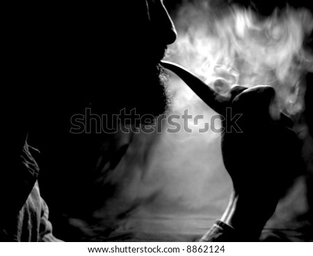 Pipe Smoker - Silhouette Black and white - stock photo
