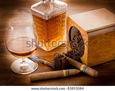 pipe, tobacco, cuban cigar and liquor - stock photo