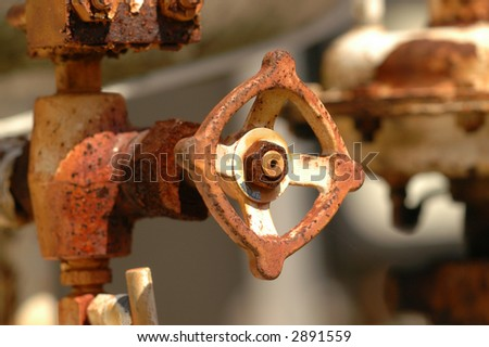Pipe valve three - stock photo