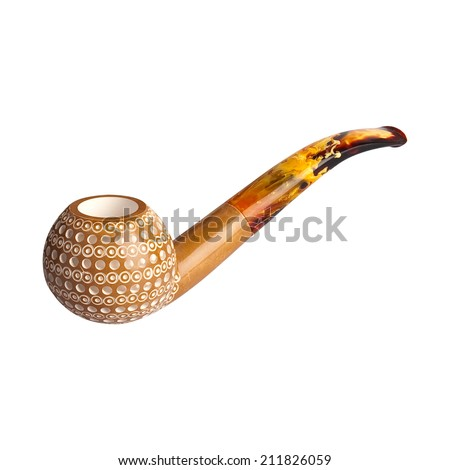 Pipe with smoke isolated on white background - stock photo