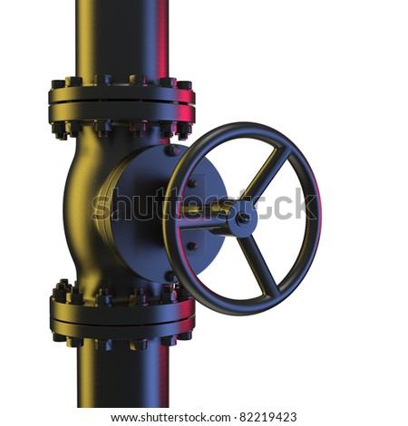 Pipeline and Valve powdercoat - stock photo