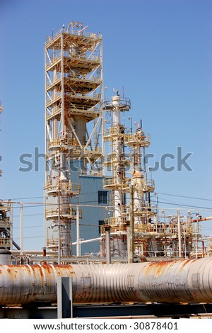 Pipeline at Gas Refinery - stock photo