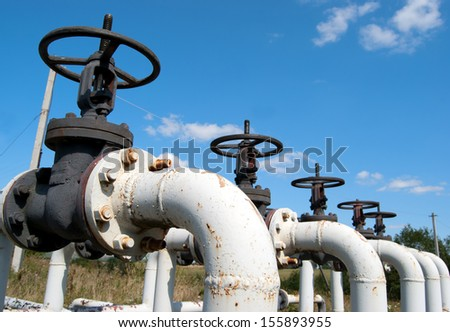 pipeline carrying crude oil to the refinery - stock photo
