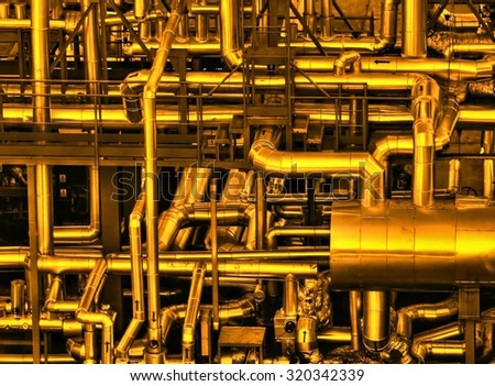 Pipeline construction in chemical factory - Diathermic oil thermal plant. - stock photo