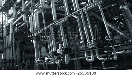 pipeline construction inside oil and gas refinery - stock photo