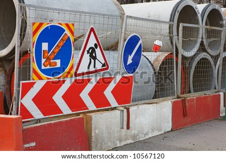 Pipeline construction site in a city. - stock photo