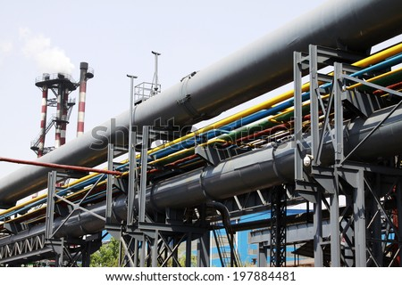 pipeline facilities in a factory, closeup of photo