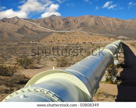 Pipeline in the Mojave Desert - stock photo