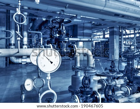 Pipeline indoors oil refining - stock photo