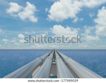pipeline on the sea - stock photo