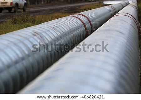 pipeline on the street - stock photo