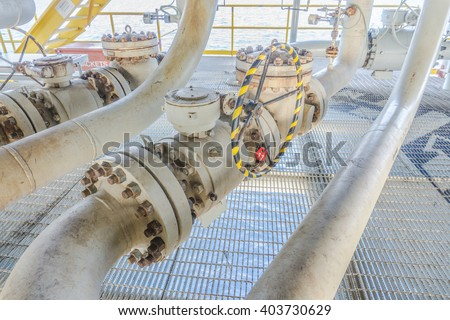 Pipeline production and valve for oil and gas process, Pipeline construction on offshore wellhead remote platform, Energy and petroleum industry. - stock photo