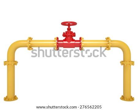 Pipeline Valve isolated on White - stock photo
