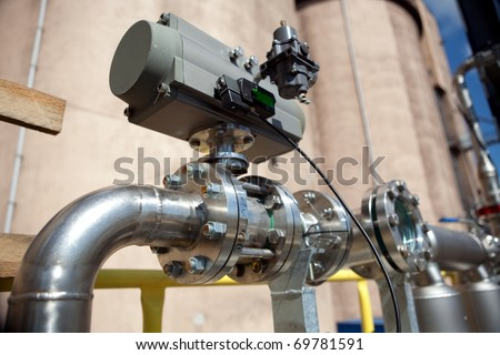 Pipeline with manometer - stock photo