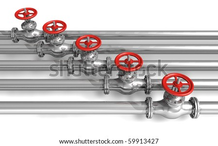 Pipeline with valves - stock photo