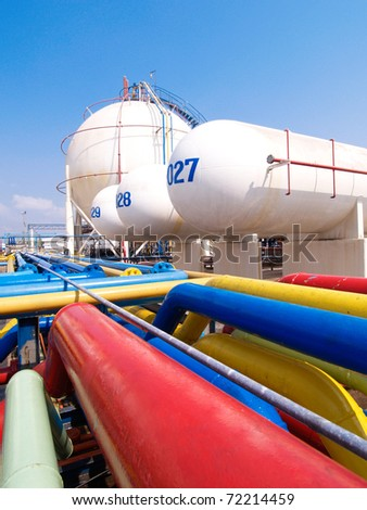 Pipelines and gas tanks in the industrial estate, the suspension energy for transportation and household use for the big city  - stock photo