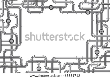 pipelines with valve and lots of copy space frame for plumbing water, gas or oil distribution sanitary industry plumber background frame isolated on white industrial engineering - stock photo