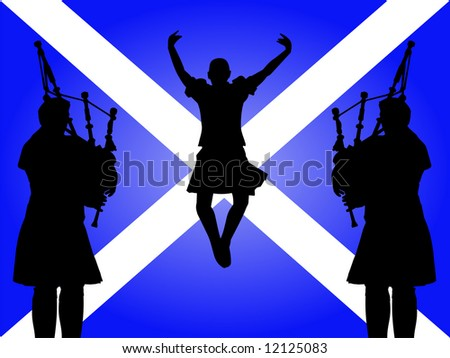 pipers and highland dancer jumping with Scottish flag Illustration JPG - stock photo