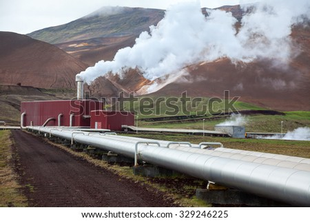 Pipes and steam of geothermal power Station in Iceland - stock photo