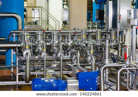 pipes and tanks for the food industry - stock photo