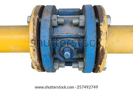 Pipes and Valves on white background - stock photo
