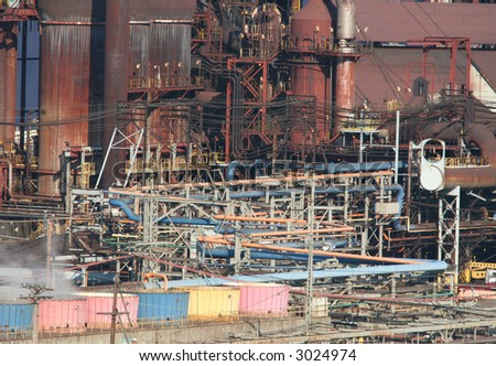 Pipes at a steel mill. - stock photo