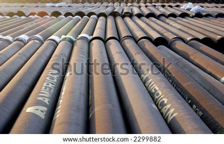 Pipes for new water line. - stock photo