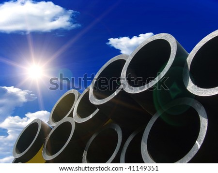 Pipes for water in a stack - stock photo
