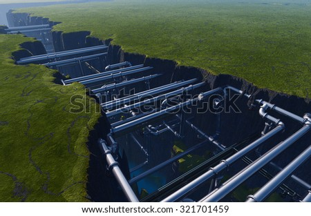 Pipes inside the earth fault. - stock photo