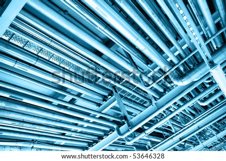Pipes, may be used as industrial background - stock photo