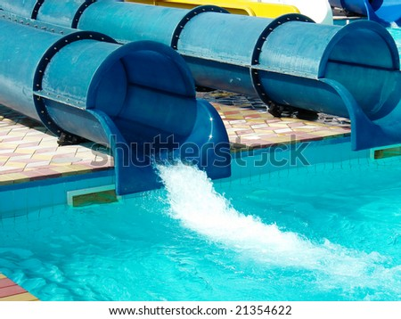 Pipes of a hill in an aquapark - stock photo