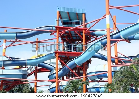 pipes of an aquapark against the blue sky