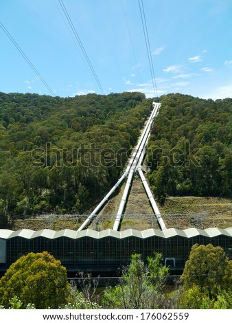 Pipes of the Snowy Mountains scheme a hydroelectricity and irrigation complex in New south Wales in Australia - stock photo