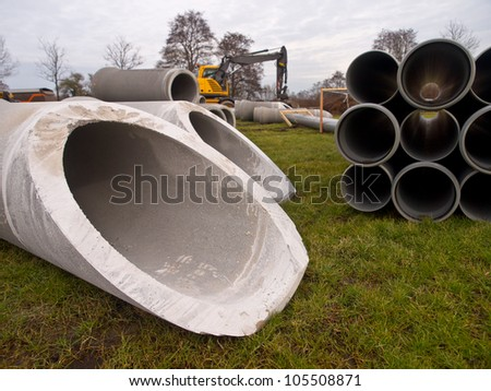 Pipes on a construction site - stock photo