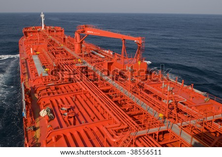 Pipes on the deck of the ship - crude oil tanker - stock photo